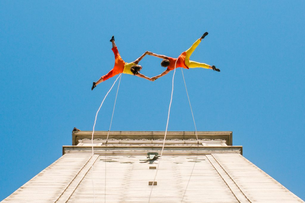 BANDALOOP Dancers Perform on Sather Tower, UC Berkeley, April 18, 2015. Photographed by Kevin Ho Nguyen