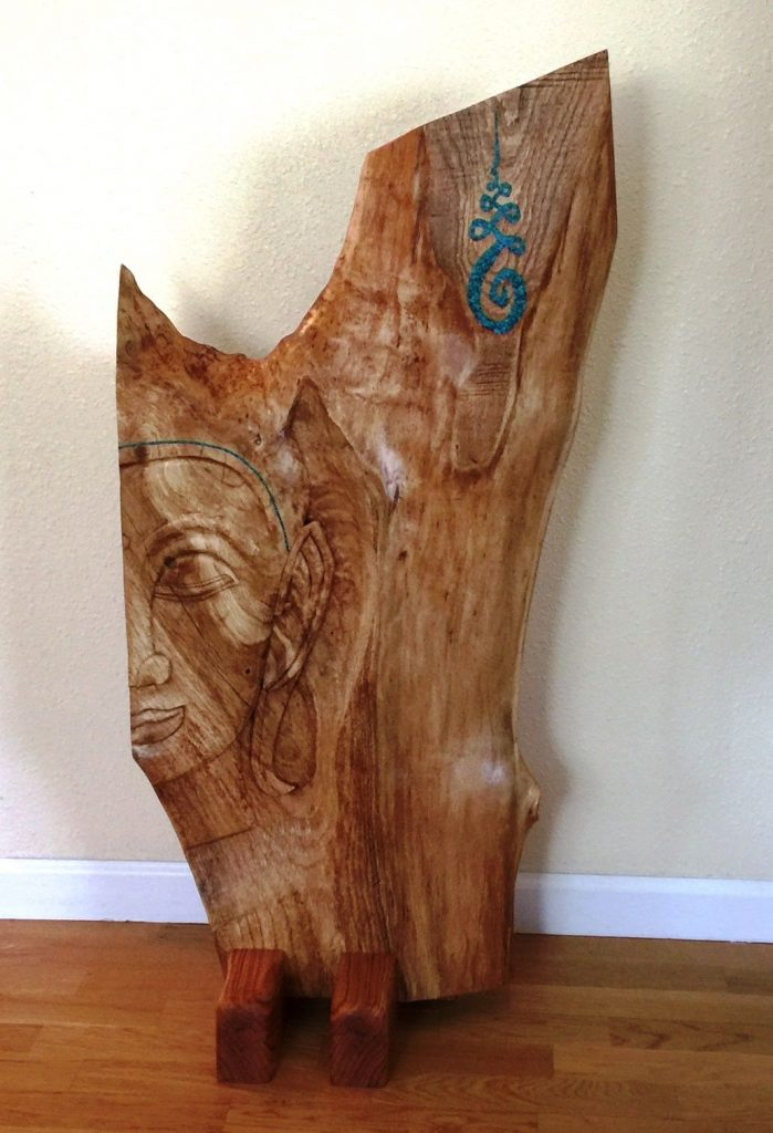 David Widlund, Thai Buddha, 2017, Oak wood with inlay, 36x24 inches, $700