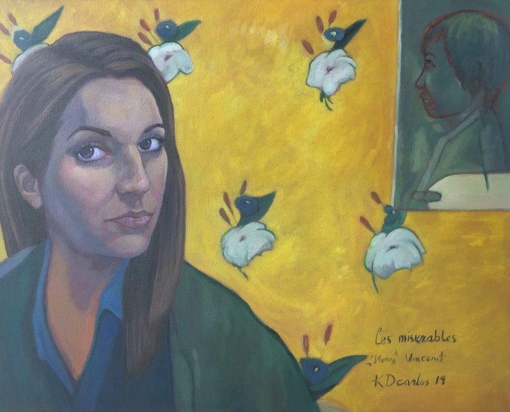 Kristen DeMartini Carlos, Self-Portrait with portrait of Hang Nguyen, 2019