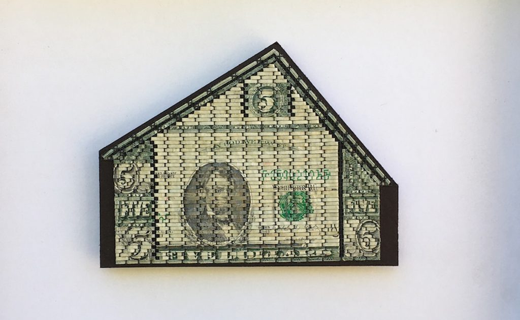 "Libby Harmor, House of Five, 2017, woven money, 9.5""x11.5"""