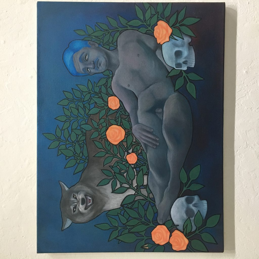 RYAN RAMOS Moonlight, 2016 Acrylic on canvas $275  This painting is a reference to the Odalisque, a common subject in Western art. My take on this tradition is clearly queer, with a nude male replacing the oft-depicted nude female. I wanted to reference art history as a way to challenge traditional notions.