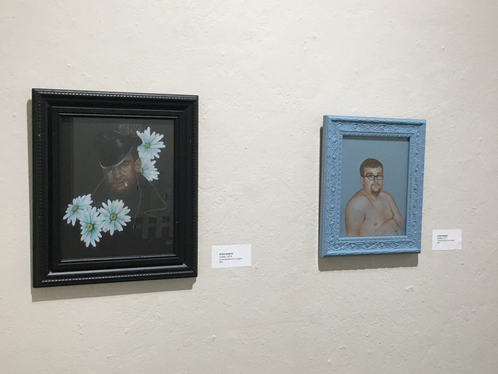 Left:RYAN RAMOS Leather, 2018 Colored pencil on paper $95  Right: RYAN RAMOS Andrew, 2019 Colored pencil on paper NFS