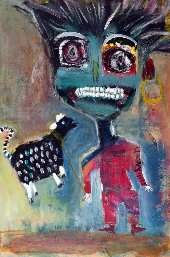 "Barbara Martin, Who Needs Caffeine?, 2018, Acrylic, oil pastel and pencil, 24""x16"""